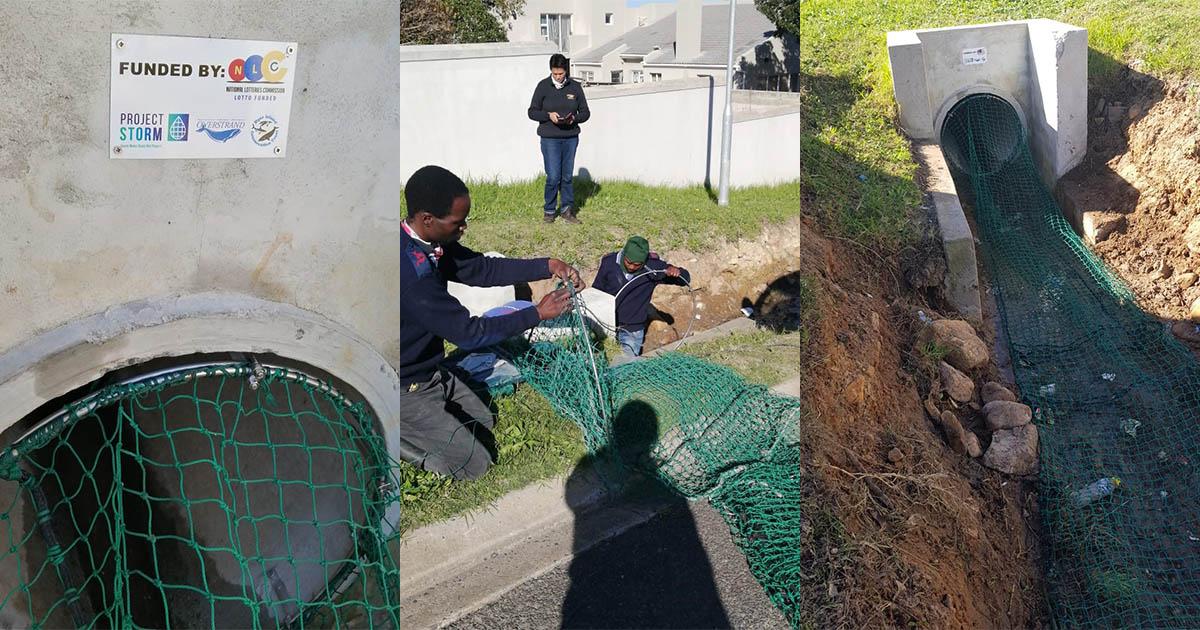 Drain net preventing Ocean pollution in Gansbaai